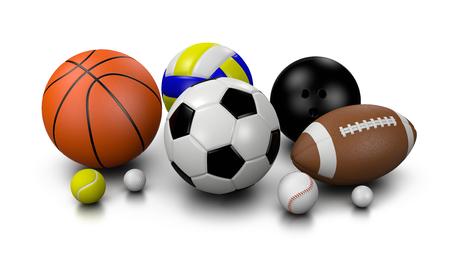 balones deportivos: Bolas de deportes en 3D blanco del fondo Ilustración