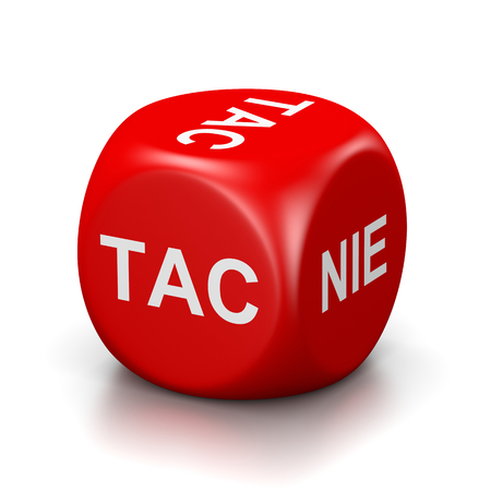 red dice: One Single Red Dice with Yes or No Polish Text on Faces on White Background 3D Illustration