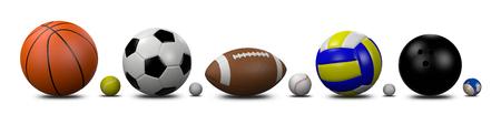 Sport Balls Kolekcja na białym tle Ilustracja 3D