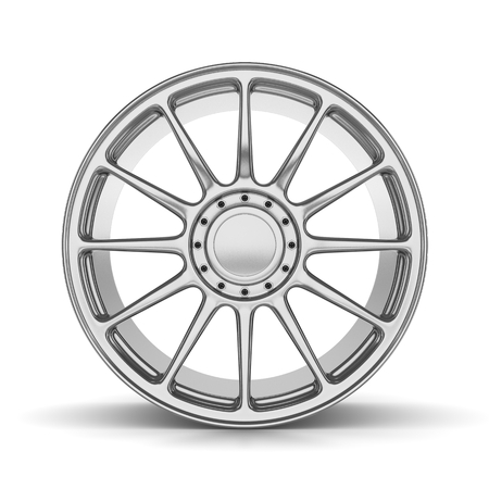 rim: Single Car Rim on White Background Front View