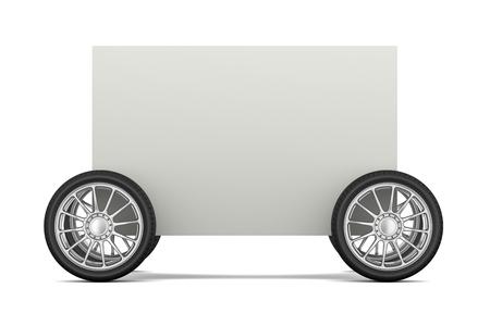 car bills: Blank Bill on Wheels 3D Illustration on White Background