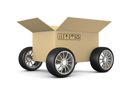 consignment: Open Cardboard Box on Wheels on White Background 3D Illustration, Shipment Concept Stock Photo