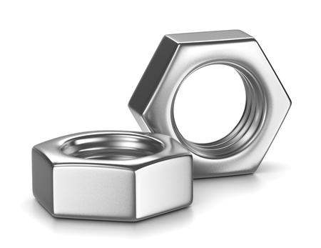 白い背景の上の 2 つの金属ナット