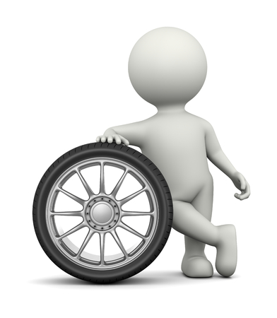 leaned: White 3D Character Leaned on a Car Wheel 3D Illustration on White Background Stock Photo