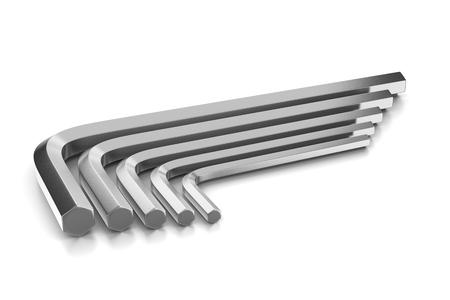 hex: Metallic Hex Keys Set on White Background Stock Photo