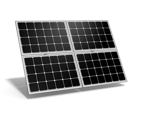 solar: Single Solar Panel on White Background 3D Illustration Stock Photo