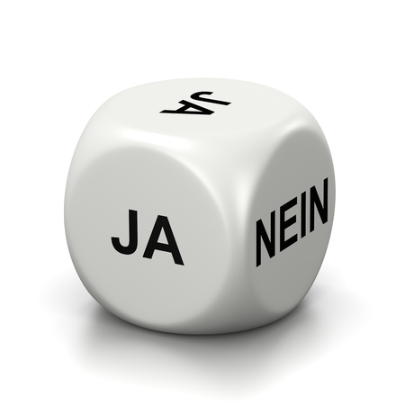 dubious: One Single White Dice with Yes or No German Text on Faces on White Background 3D Illustration