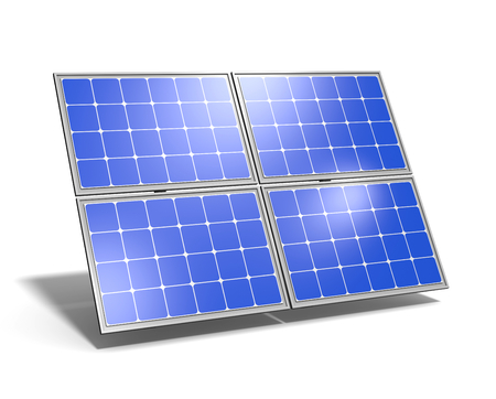 Einzelne Sonnenkollektor mit blauem Himmel Reflexion auf weißem Hintergrund 3D-Illustration