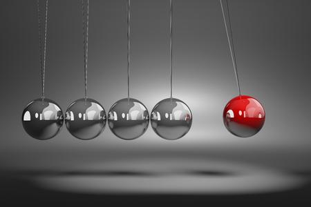 Rood Metallic Ball aanzetten tot Movement Metallic Balls Mechanism 3D illustratie