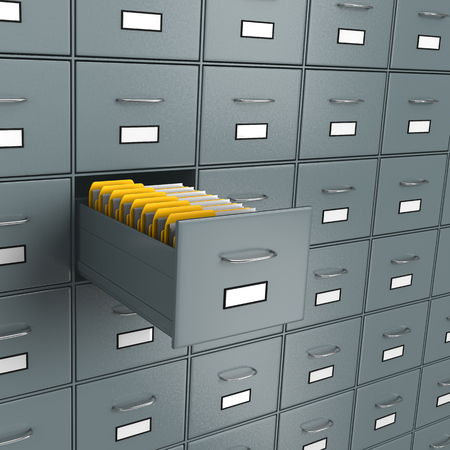 organise: Metallic Archive Rack with One Open Drawer Full of Yellow Document Folders, Find Documents Concept 3D Illustration
