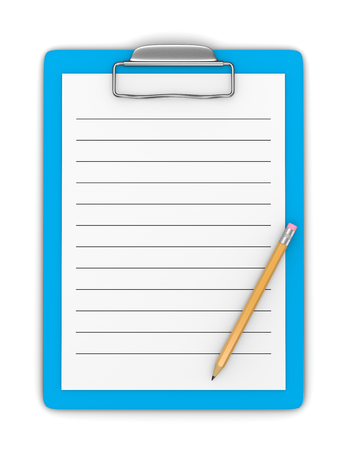 ruled paper: Blue Clipboard with Pencil and Blank Ruled Paper on White Background 3D Illustration