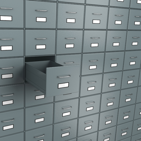 to gather: Metallic Archive Rack with One Open Empty Drawer 3D Illustration Stock Photo