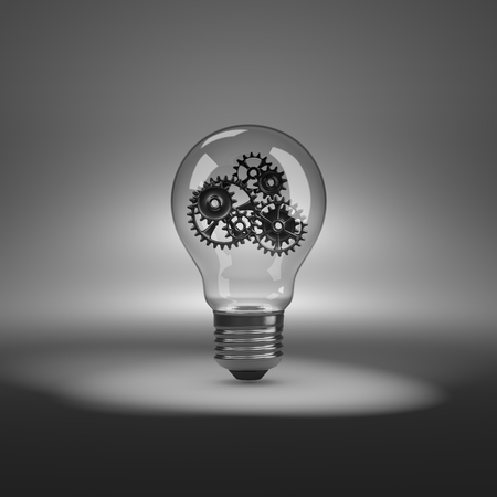 synergy: One Single Light Bulb with Metallic Gears Inside under Spotlight 3D Illustration Stock Photo