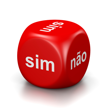 doubtfulness: One Single Red Dice with Yes or No Portuguese Text on Faces on White Background 3D Illustration Stock Photo