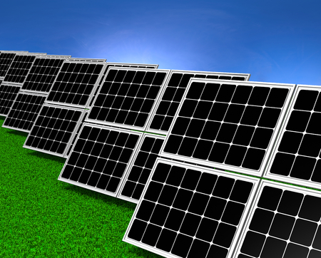 field and sky: Series of Solar Panels on Grass Field under Blue Sky 3D illustration