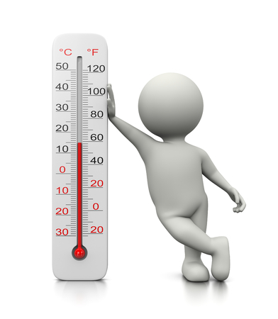 leaned: White 3D Character Leaned on a Thermometer 3D Illustration