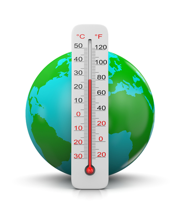 Earth Behind a Thermometer on White Background, Global Temperature Concept