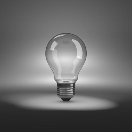 spot lit: One Single Empty Light Bulb under Spotlight Stock Photo