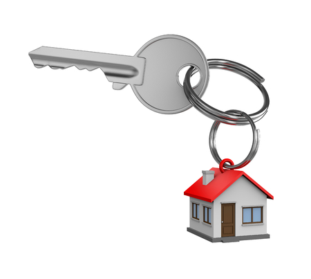 One Single Metal Key with Key Rings in the Shape of a House Isolated on White Background 3D Illustration Standard-Bild