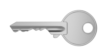 One Single Metal Key Isolated on White Background 3D Illustration