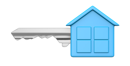 head shape: One Single Metal Key with Blue Plastic Head in the Shape of an House Isolated on White Background 3D Illustration