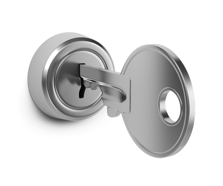 One Single Metal Key Inserted in a Door Lock on White Background 3D Illustration Standard-Bild