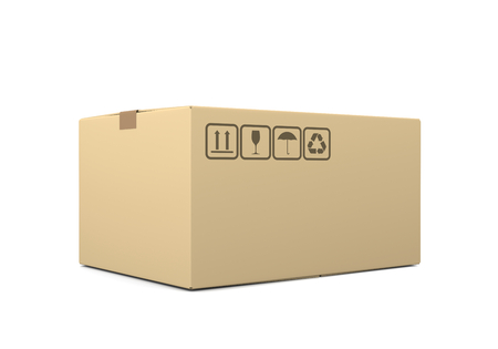 One Single Closed Beige Cardboard Box on White Background 3D Illustration 写真素材