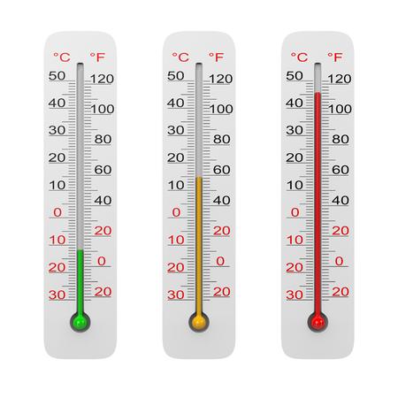 kelvin: Thermometer Set Isolated on White Background 3D Illustration Stock Photo