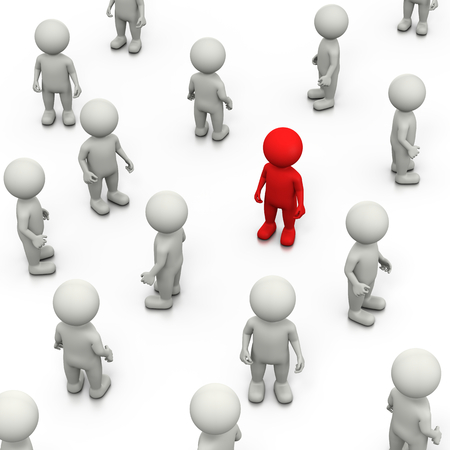 stand out: Red 3D Character Stand Out in a Crowd of White, 3D Illustration on White Background