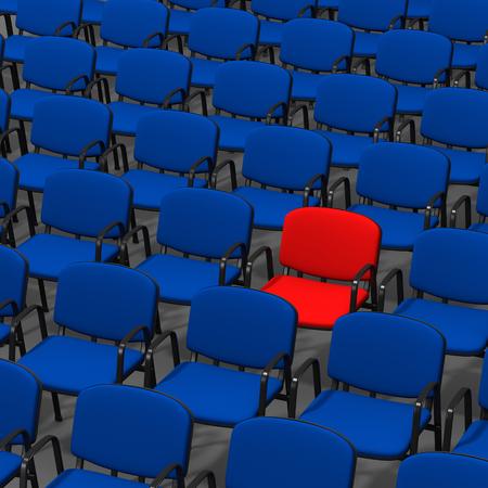 Red Chair Stand Out in een Menigte van Blauw, 3D illustratie op witte achtergrond