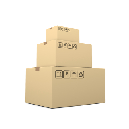 heap: Heap of Closed Beige Cardboard Boxes on White Background 3D Illustration