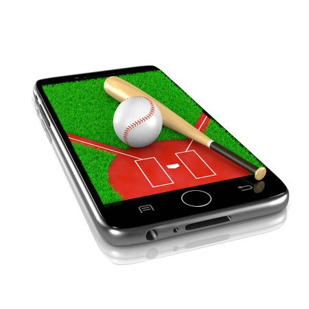 Baseball-Feld mit Ball und Schläger auf Smartphone-Display 3D-Illustration isoliert auf weißem Hintergrund