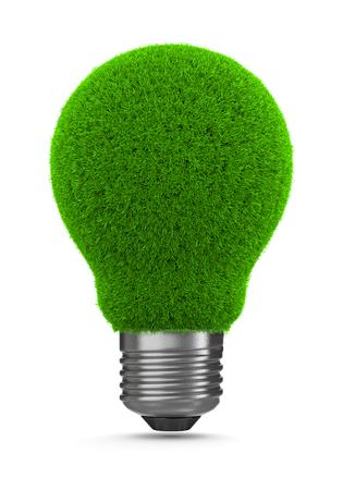green light bulb: Grass Green Light Bulb on White Background 3D Illustration, Green Energy Concept