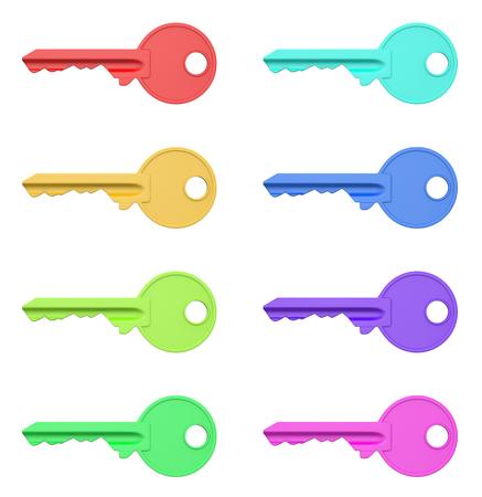llaves: Colorido claves de las series aisladas sobre fondo blanco Ilustración 3D