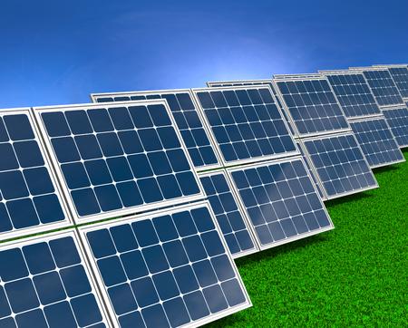 series: Series of Solar Panels on Grass Field under Blue Sky 3D illustration