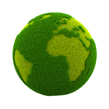 grassy: Grassy Green Earth Planet Isolated on White Background 3D Illustration Stock Photo