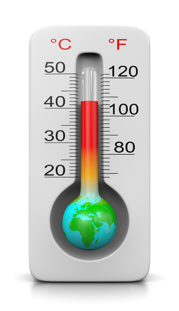 Earth in the Shape of a Thermometer on White Background 3D Illustration, Global Warming Concept