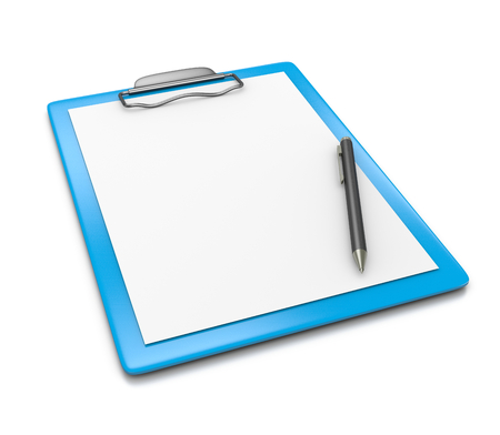 pen and paper: Blue Clipboard with Blank Paper and a Black Ball-point Pen on White Background 3D Illustration Stock Photo