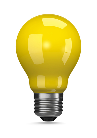 yellow bulb: One Single Yellow Light Bulb on White Background 3D Illustration Stock Photo