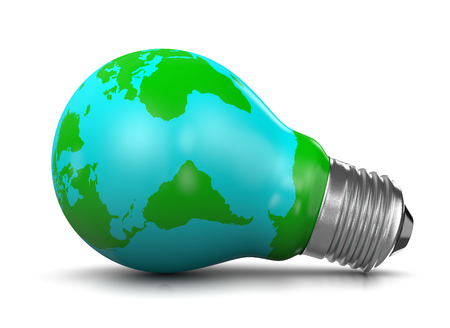 concepts and ideas: Light Bulb Covered with a World Map, 3D Illustration on White Background