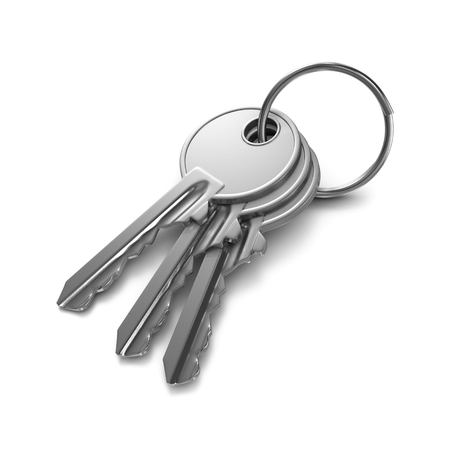 keychain: Three Metal Keys with Key Rings on White Background 3D Illustration