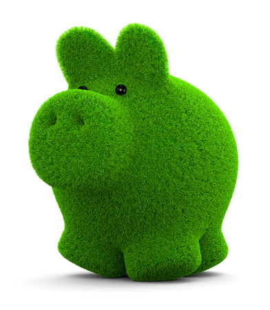 economize: Cute Grass Piggy Bank on White Background 3D Illustration Stock Photo