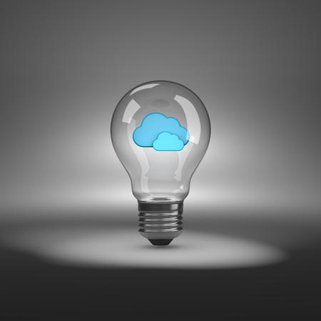 spot lit: Light Bulb with Blue Clouds Shapes Inside under Spotlight 3D Illustration