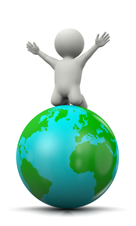 exultant: White 3D Character Exulting on top of the World 3D Illustration on White Background
