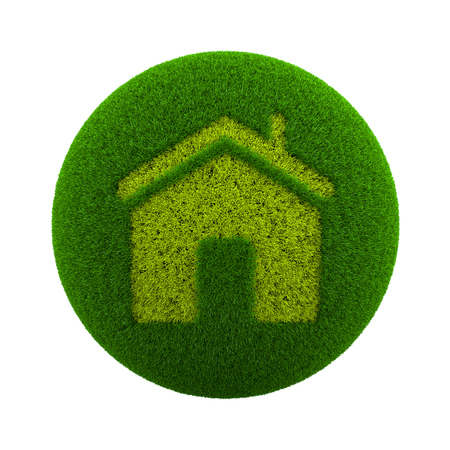 green grass: Green Globe with Grass Cutted in the Shape of Home Symbol 3D Illustration Isolated on White Background