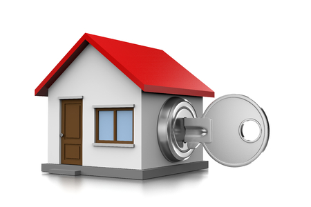 inserted: Metal Key Inserted in an House Shaped Lock 3D Illustration on White Background