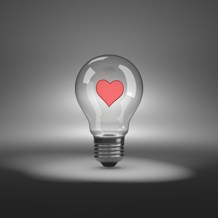 electric bulb: Light Bulb under Spotlight with Red Heart Shape Inside 3D Illustration