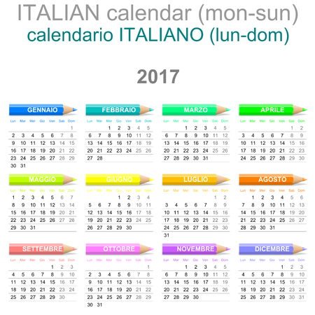 Colorful Monday to Sunday 2017 Calendar with Crayons Italian Version Illustration