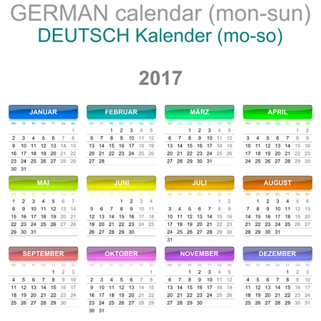 newyear: Colorful Monday to Sunday 2017 Calendar German Language Version Illustration