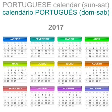 version: Colorful Sunday to Saturday 2017 Calendar Portuguese Language Version Illustration
